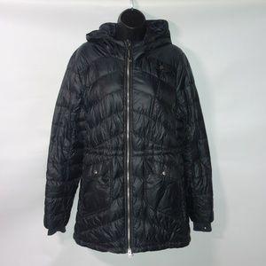 Athleta Uptown Hooded Puffer Black Down Jacket L
